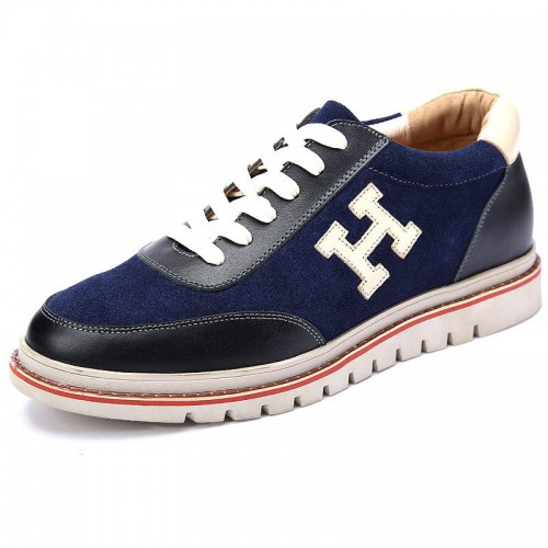 Men hidden heel shoes gain taller 6cm / 2.4inch blue casual shoes