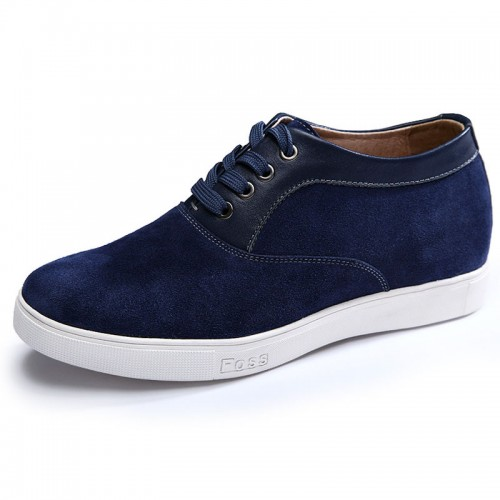 Lightweight suede leather elevator casual shoes 6cm / 2.4inch blue lift up shoes