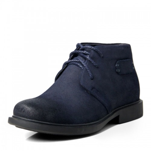 Elegant blue tall big shoes for height increase 6.5cm / 2.56inches nubuck casual shoe