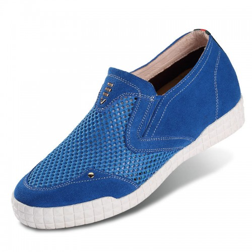 Blue height increasing loafers add taller 6cm / 2.56inch mesh men slip on casual shoes