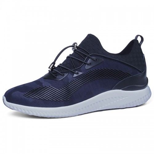 3 inch Ultra Light Extra Taller Sneakers Blue Height Increasing Elevator Walking Shoes
