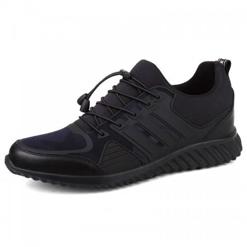 Hidden Heel Walking Shoes Blue Slip On Fashion Sneakers Taller 8cm / 3.2inch