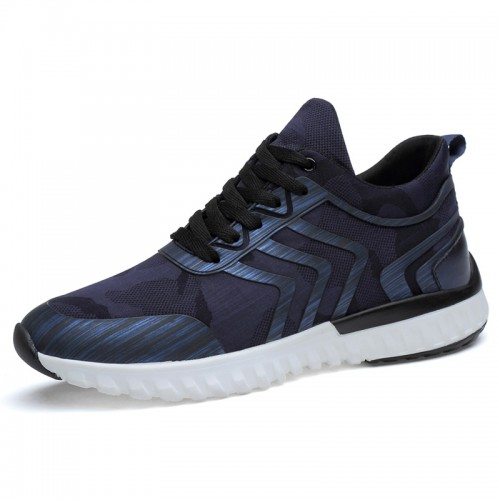 blue taller fashion sneakers for men height increasing 8cm