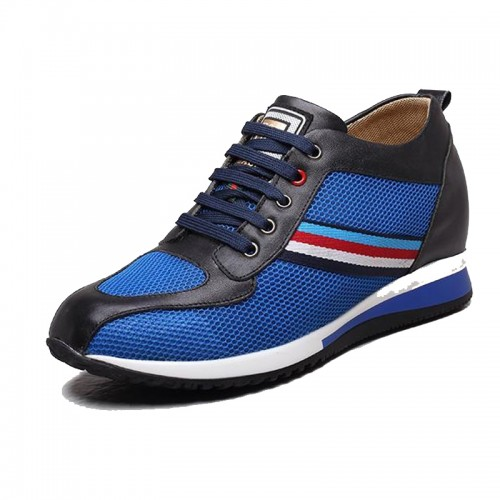 Breathable blue mesh taller sneakers make you look height 8cm / 3.15inch sport shoes