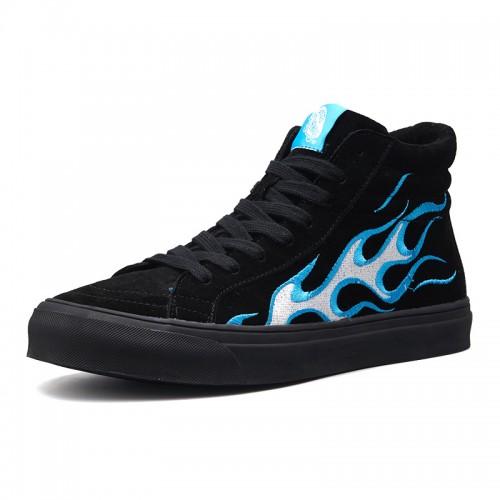 Elevator Men Hip-Hop Shoes Taller 2.8cm / 7cm Blue Flames Trainers Black Lift Skate Shoes