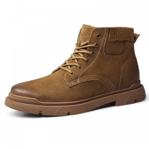 INS Height Increasing Desert Boots Brown Leather Work Boot Trendy Martin Boot Tall 2.4 inch / 6 cm
