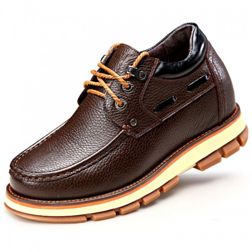 British men's casual height shoes get taller 9cm / 3.54inch brown spacious toe hidden heel shoes
