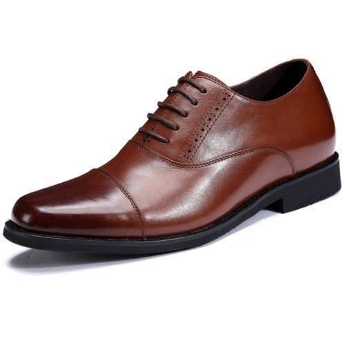 Premium tuxedo taller shoes 7cm / 2.75inch brown cap toe heighten wedding shoes