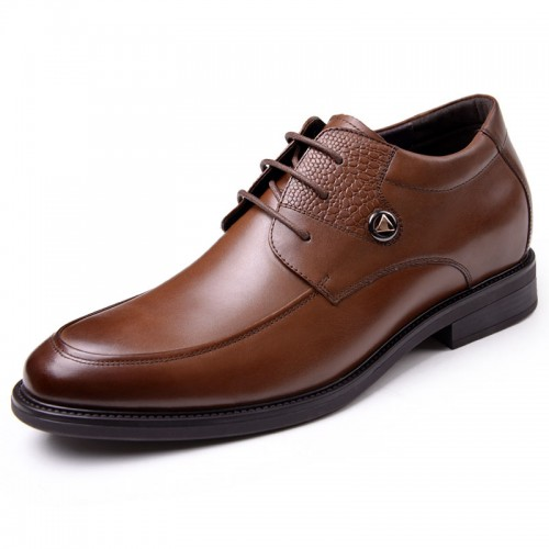 European exalted height increasing shoes 6cm / 2.36inch brown men elevator party shoes