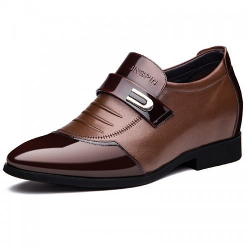 Cap toe slip on height elevator dress loafers 2.8inch / 7cm Brown