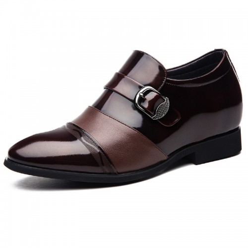 Height buckle strap dress loafers cap toe increasing wedding shoes 2.8inch / 7cm brown