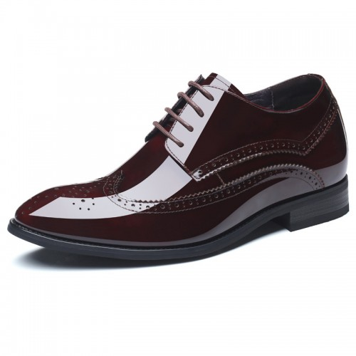 Glossy Cowhide Elevator Brogue Formal Shoes