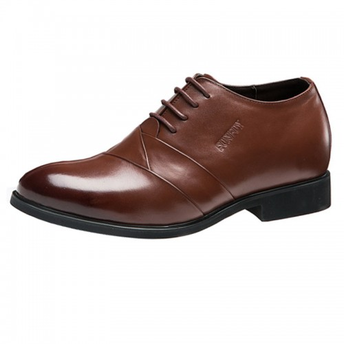 British luxury groom elevator wedding shoes 6cm / 2.36inch brown pointy toe formal shoes