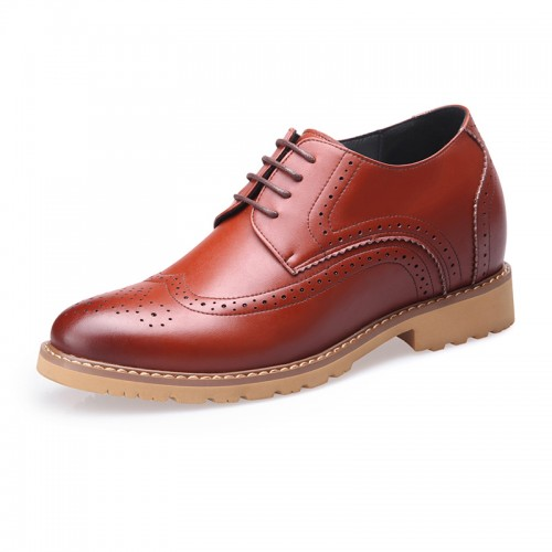 Brown brogue wing tip height increasing wedding shoes 8cm / 3.2inch British casual business shoes