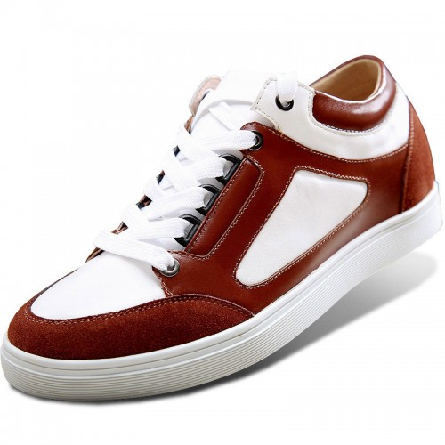 Fashion skate board shoes add taller 6cm / 2.4inch brown elevator casual shoes