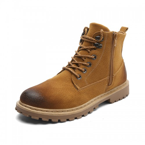 European Taller Martin Boots Yellow Zip Casual Work Boots Height Increasing Hiking Boot 3.6inch / 9cm