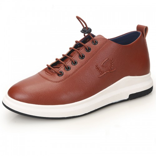 Simple Men's Elevator Shoes Height 2.4inch / 6cm Brown Lace Up Casual Shoes
