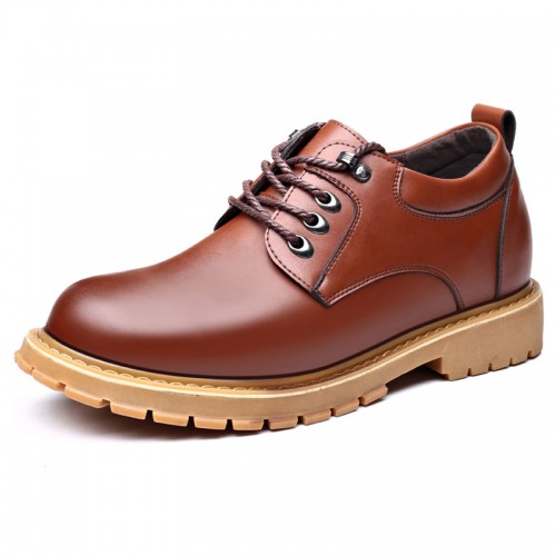 Spacious Toe Taller Men Casual Shoes Brown Outdoor Work Shoes Add Height 3.2 inch / 8 cm