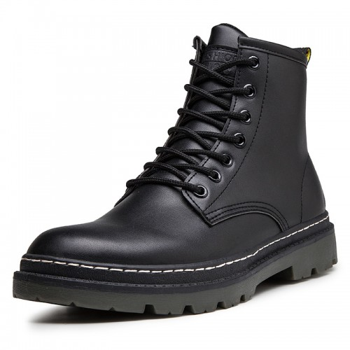 Taller Motorcycle Boots for Men Height 6.5 cm / 2.6 inch Warm Elevator Military Combat Boot Shoes