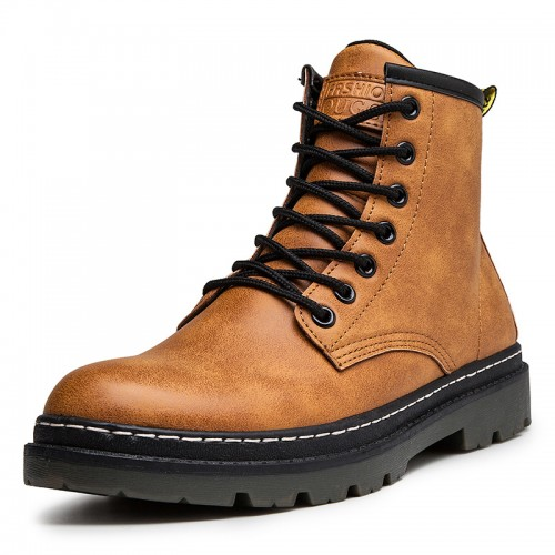 Brown Height Increasing Motorcycle Shoes Elevator Military Combat Boot Boost 3.2 inch / 8 cm