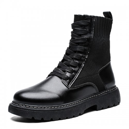 INS Trendy Elevator Men Frye Harness Boot Fashionable Combat Boots Increase Taller