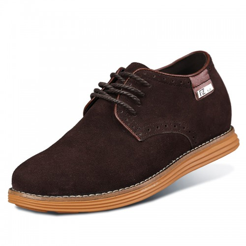 New Coffee Suede Leather Height Casual Shoes Add Taller 6cm / 2.36 inch Walking Shoes