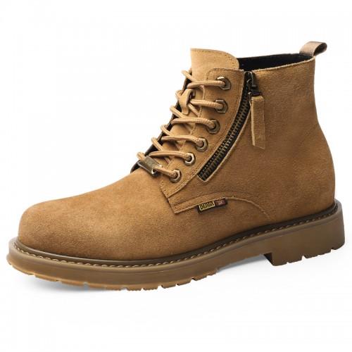 Brown Cowhide Taller Men Martin Boots Add Height 7cm / 2.8inch Lace Up Side Zip Hidden Lift Chukka Boot