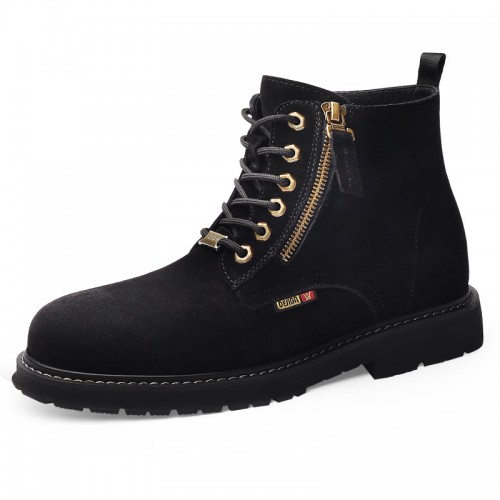 Black Cowhide Taller Martin Boots for Men Increase 7cm / 2.8inch Lace Up Side Zip Elevator Chukka Boot