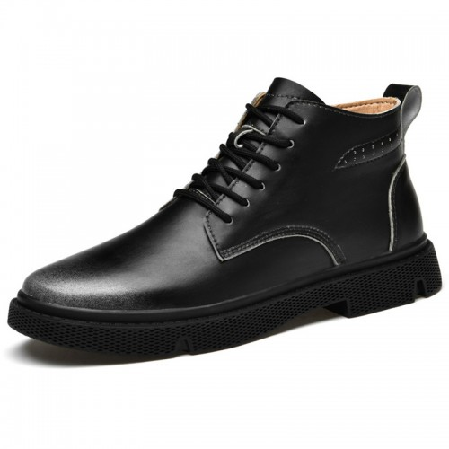 Black Elevator Desert Boots Hidden Lift Casual Business Chukka Dress Boots Add Taller 2.4inch / 6cm