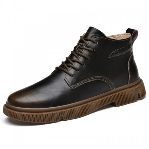 Hidden Height Casual Business Chukka Dress Boots Increase 2.4inch / 6cm Brown Elevator Desert Boots