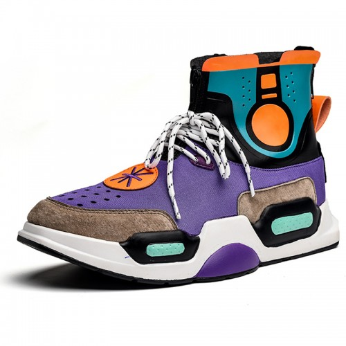 Height Street Hip Hop Sneakers for Men Increase 3.2inch / 8cm Purple High Top Board Shoes