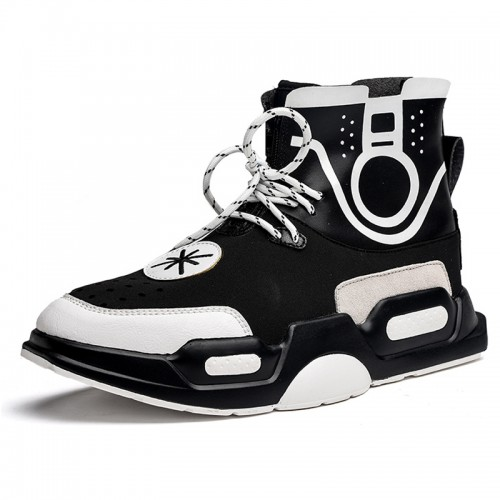 Elevator Street Hip Hop Sneakers for Men Taller 3.2inch / 8cm Black High Top Board Shoes