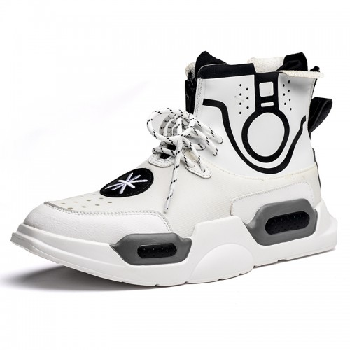 Taller Street Hip Hop Sneakers for Men Add Height 3.2inch / 8cm White High Top Board Shoes