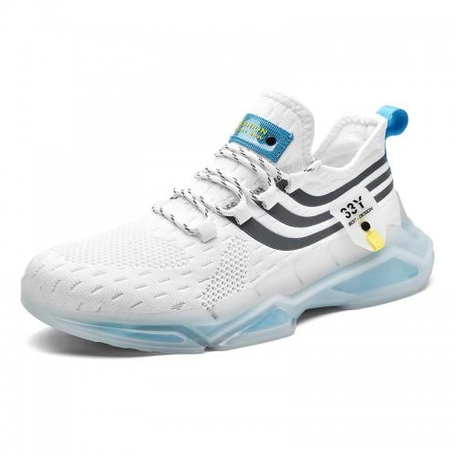 White Hidden LIft Flyknit Sneakers for Men Get Height 2.4 inch /  6 cm Shock Absorbing Walking Running Shoes