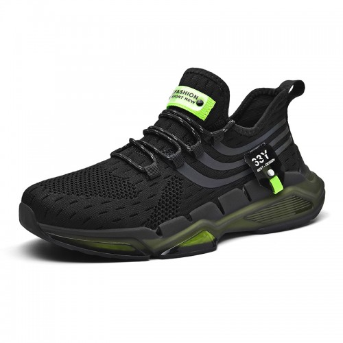 Shock Absorbing Elevator Flyknit Snearkers for Men Add Height 2.4i nch / 6 cm Black Lightweight Running Shoes