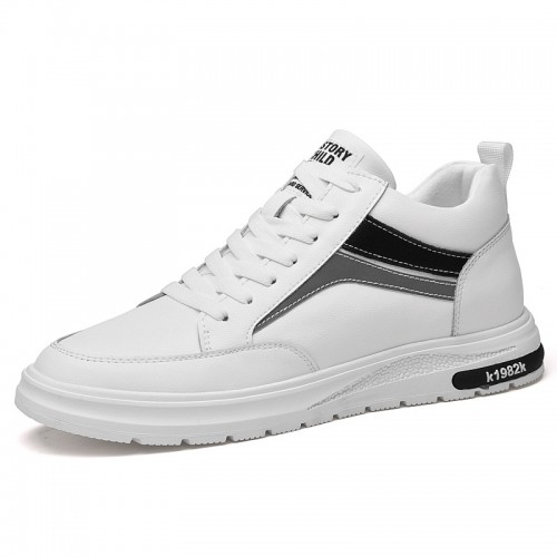 Lifestyle Height Increasing Casual Shoes Add 3 inch / 7.5 cm White Leather Lightweight Hidden Lift Flat Shoes