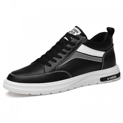 Lifestyle Elevator Casual Shoes Gain Taller 3 inch / 7.5 cm Black Leather Lightweight Hidden Lift Flat Shoes