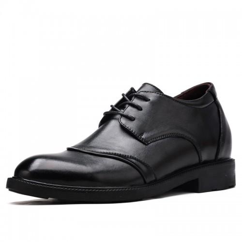 European Cap Toe Elevator Shoes for Men Raise 2 inch / 5 cm Large Size Taller Calf Leather Formal Oxfords