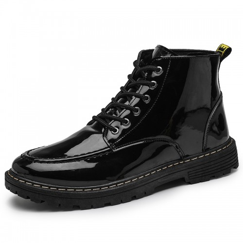 Glossy Patent Leather Elevator Boots Lace Up Height Increasing Ankle Boots Add 3 inch / 7.5 cm