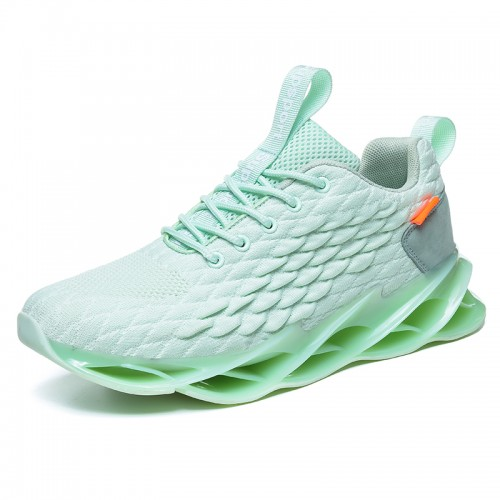 Green Fish Scales Height Sneakers for Men Add Taller 2.8inch / 7cm Soft Lightweight Flyknit Jogging Shoes