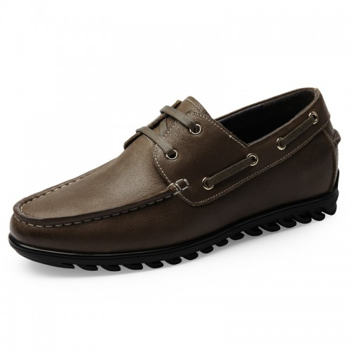 Retro Men Elevator Boat Shoes Height 2.2inch / 5.5cm Khaki Soft Leather Lace Up Heighten Shoes
