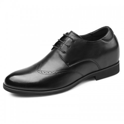 Black Celebrity Elevator Brogue Shoes for men Tall 2.6inch / 6.5cm Soft Leather Dressy Formal Shoes