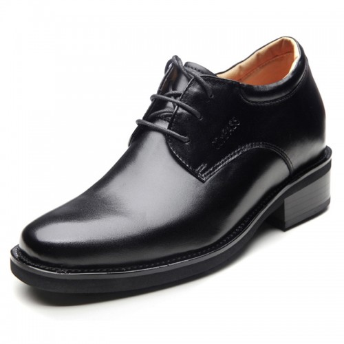 Black height elevator dress shoes make you taller 10cm / 3.95inches men business shoes