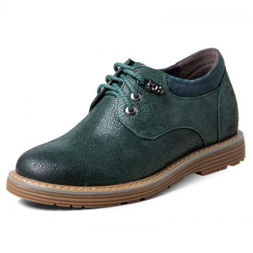 Green spacious toe shoes that make men taller 6.5cm / 2.56inches working height casual shoes