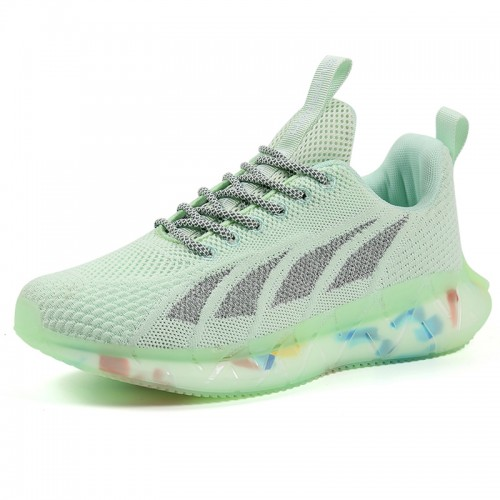 Height Lift Fitness Jogging Shoes Green Lace Up Elevator Flyknit Trainers Get Taller 2.4 inch / 6 cm