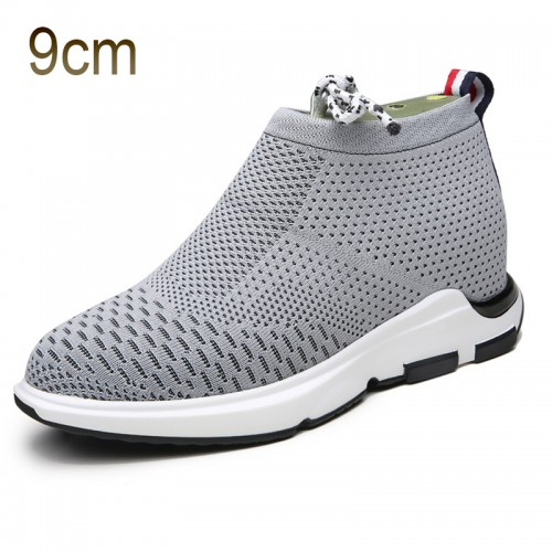 Grey Taller Flyknit Shoes for Men 3.5inch / 9cm Elevator Slip on Loafers