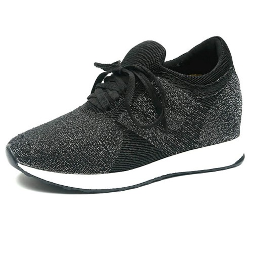 Extra taller flyknit racer height increasing walking shoes 10cm / 4inch Black