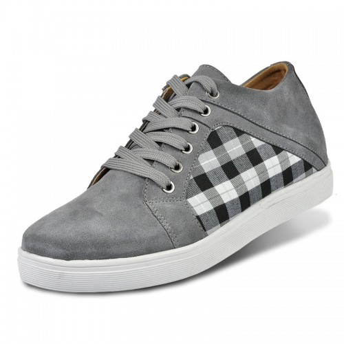 Grey suede leather elevator leisure shoes Korea style grow taller 6cm / 2.36inches