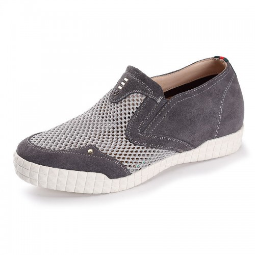 Grey taller loafers height increasing 6cm / 2.56inch mesh men slip on casual shoes
