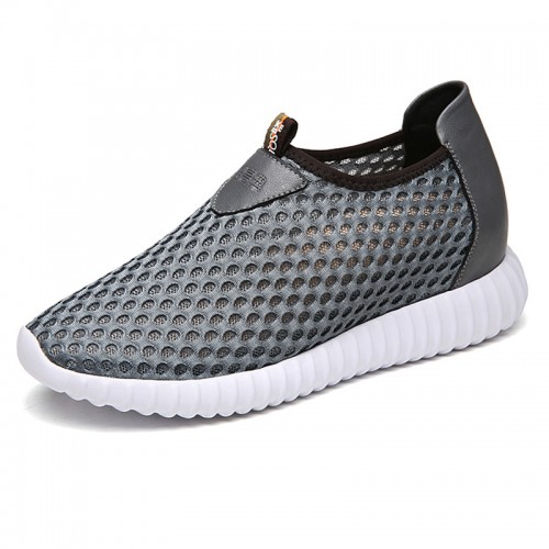 Breathable mesh elevator loafers get height 8cm / 3.2inch grey silp on sneakers